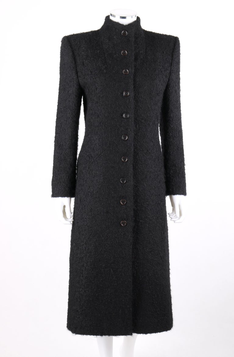 DESCRIPTION: GIVENCHY Couture A/W 1998 ALEXANDER McQUEEN Mohair Exaggerated Shoulder Overcoat   Brand / Manufacturer: Givenchy Collection: Couture; Autumn / Winter 1998  Designer: Alexander McQueen Manufacturer Style Name:  Style: Overcoat Color(s):
