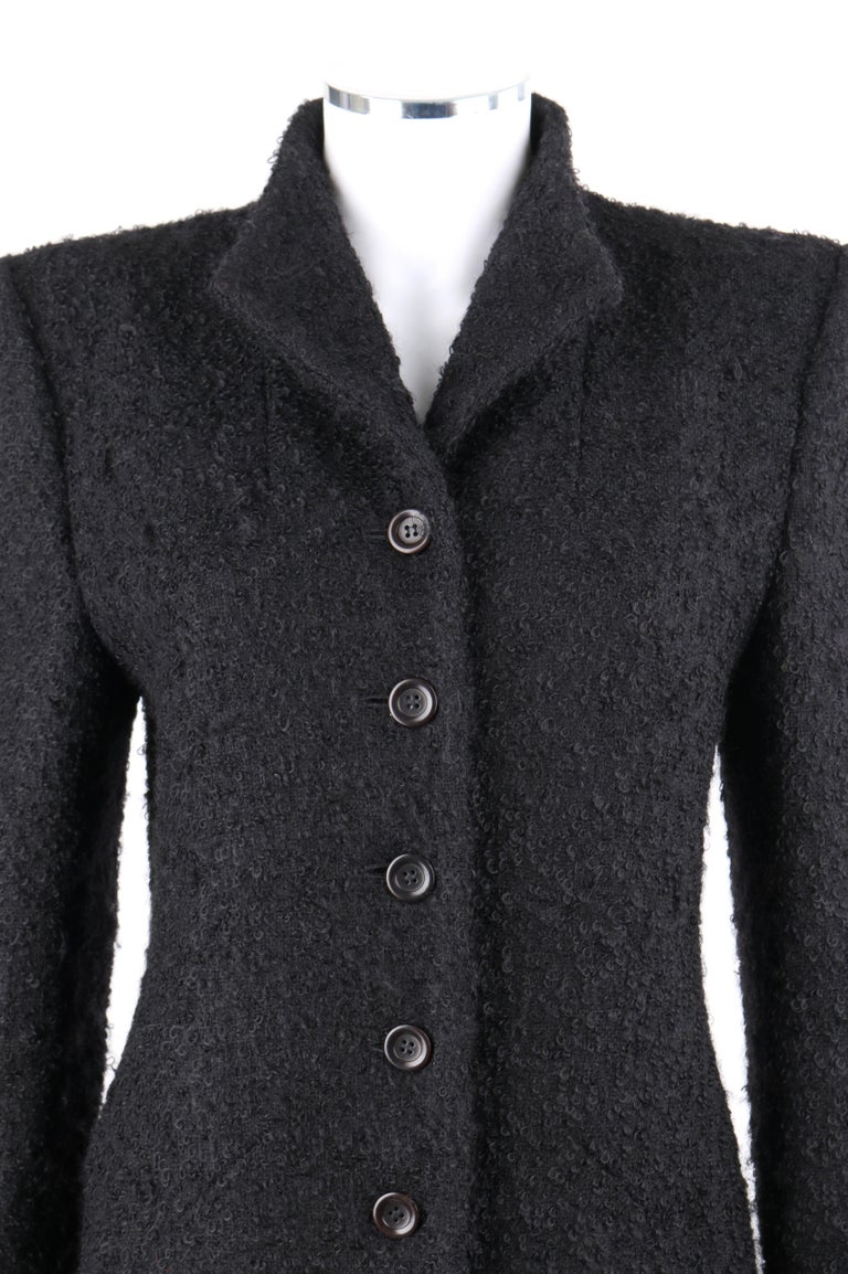 Black GIVENCHY Couture A/W 1998 ALEXANDER McQUEEN Mohair Exaggerated Shoulder Overcoat For Sale