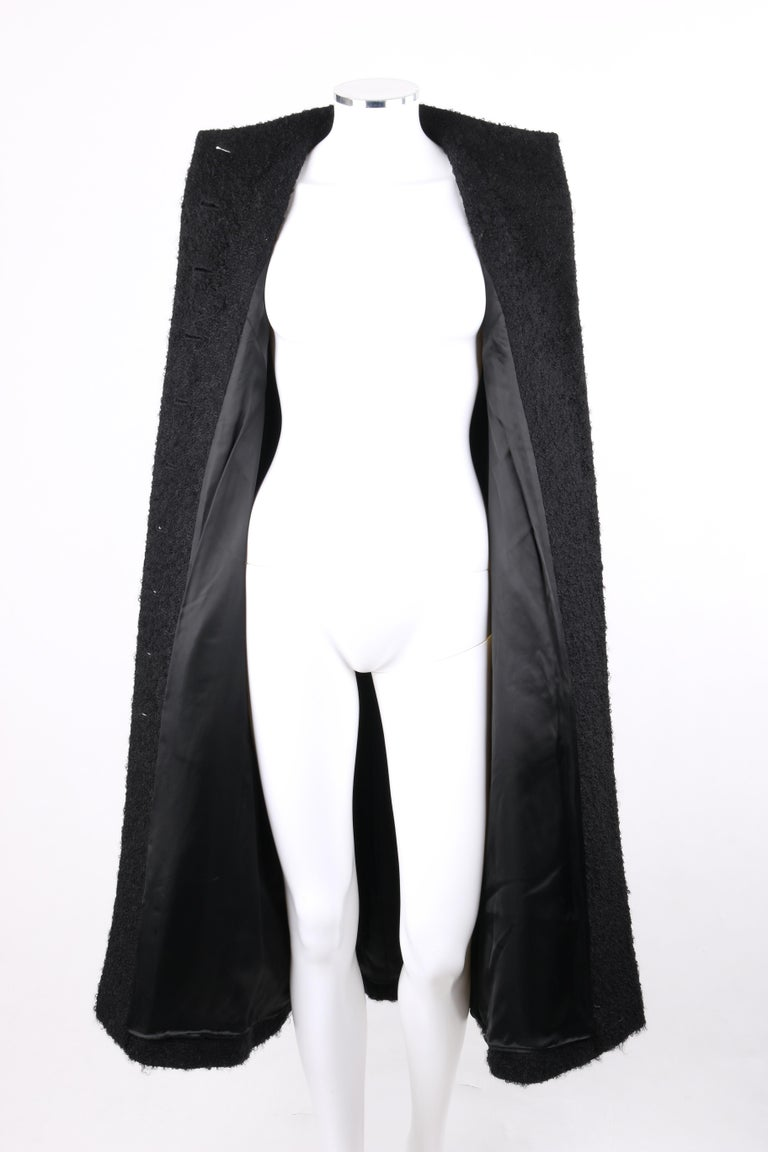 GIVENCHY Couture A/W 1998 ALEXANDER McQUEEN Mohair Exaggerated Shoulder Overcoat For Sale 2