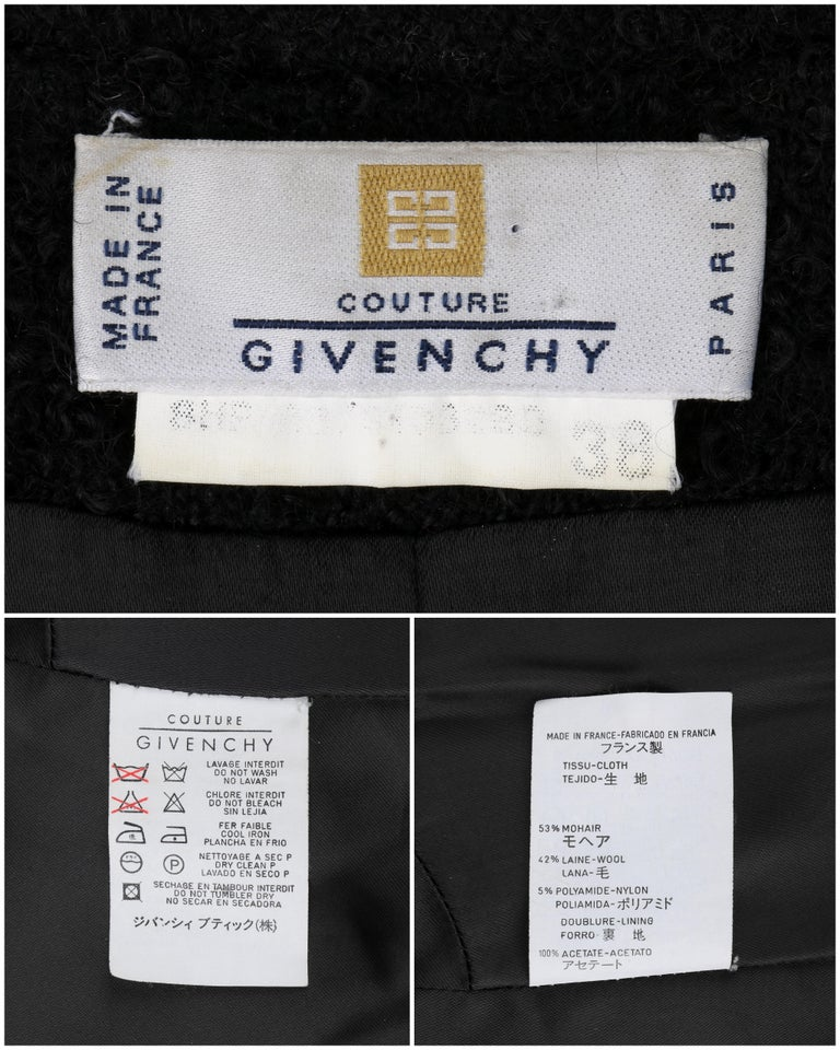 GIVENCHY Couture A/W 1998 ALEXANDER McQUEEN Mohair Exaggerated Shoulder Overcoat For Sale 3