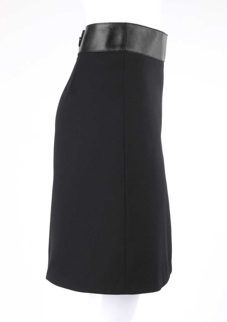 GUCCI Pre-Fall 2014 Black Wool Gabardine Leather Waistband Classic A-Line Skirt In New Condition For Sale In Thiensville, WI