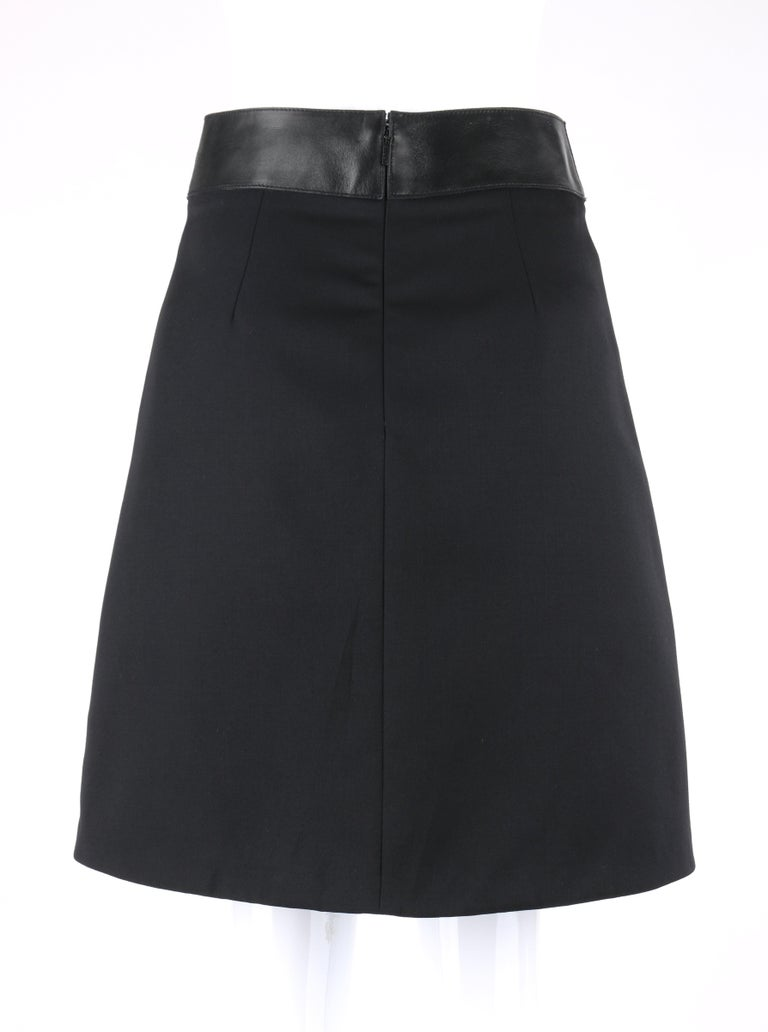 Women's GUCCI Pre-Fall 2014 Black Wool Gabardine Leather Waistband Classic A-Line Skirt For Sale