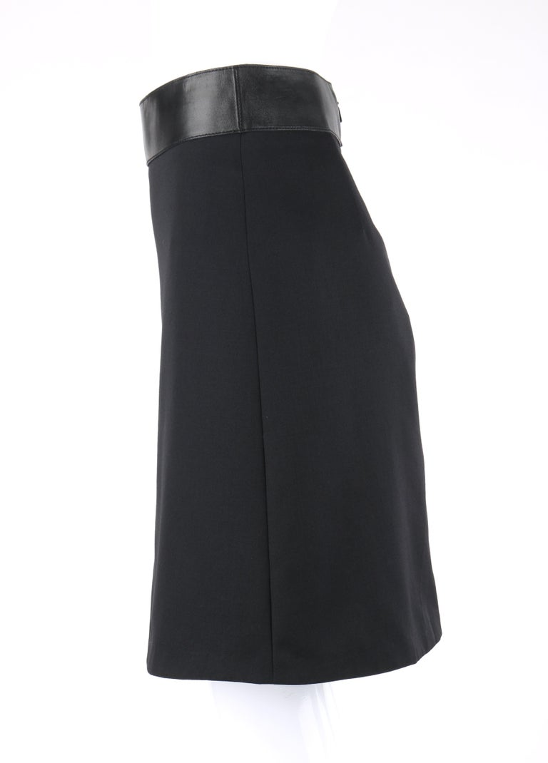 GUCCI Pre-Fall 2014 Black Wool Gabardine Leather Waistband Classic A-Line Skirt For Sale 1