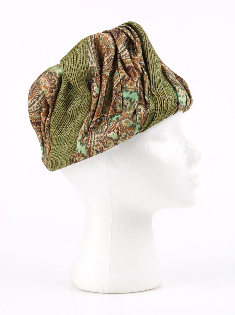 Beige Miss Dior by CHRISTIAN DIOR c.1960s Green Paisley Silk & Straw Pleated Toque Hat For Sale