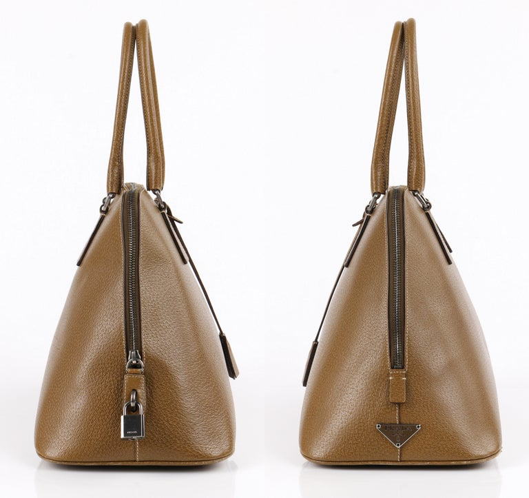 ec4f5e059561 PRADA Olive Brown Leather Structured Top Handle Trapezoid Satchel Purse In  Excellent Condition For Sale In