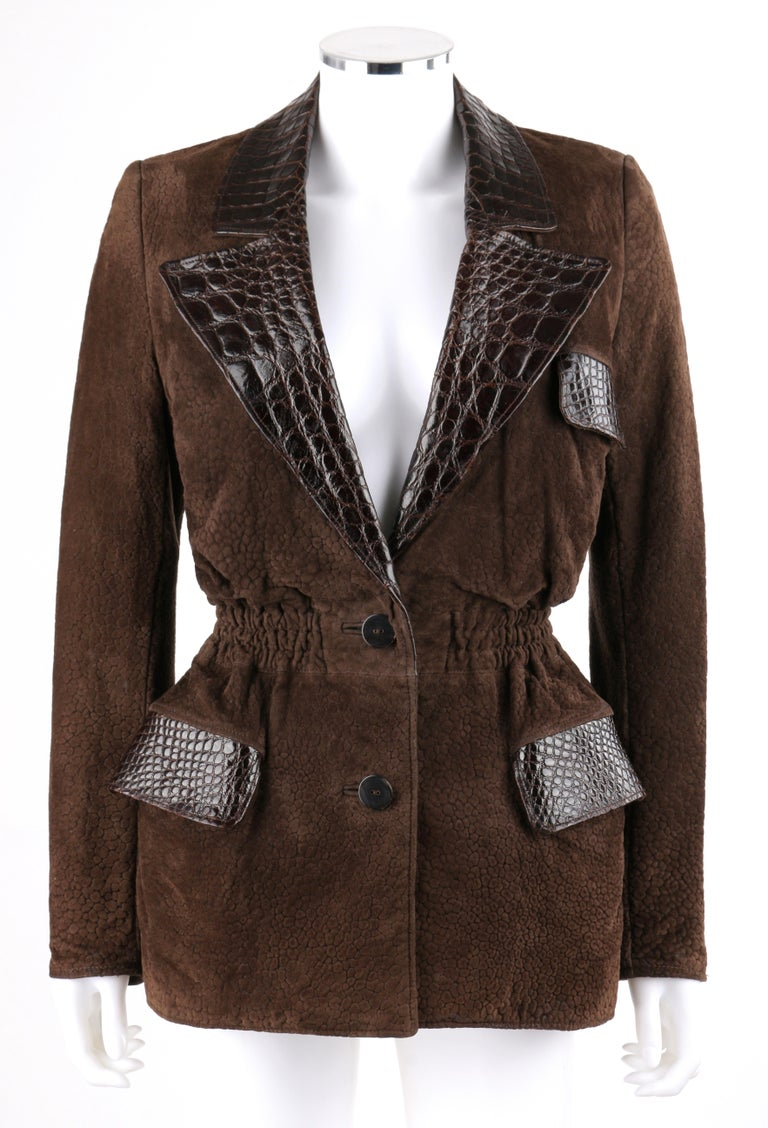 DESCRIPTION: VALENTINO Couture c.1980s Brown Crocodile Suede & Leather Cinched Waist Jacket   Circa: c.1980's Label(s): Valentino Couture; Valentino Pelle Designer: Valentino Garavani  Style: Cinched waist jacket Color(s): Shades of brown Lined: