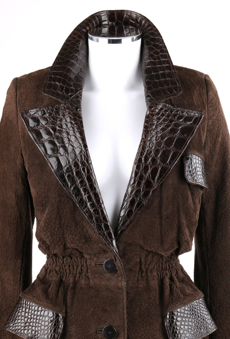 Black VALENTINO Couture c.1980s Brown Crocodile Suede & Leather Cinched Waist Jacket For Sale
