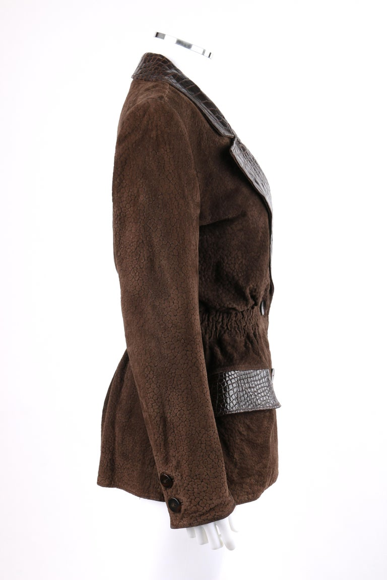VALENTINO Couture c.1980s Brown Crocodile Suede & Leather Cinched Waist Jacket In Good Condition For Sale In Thiensville, WI