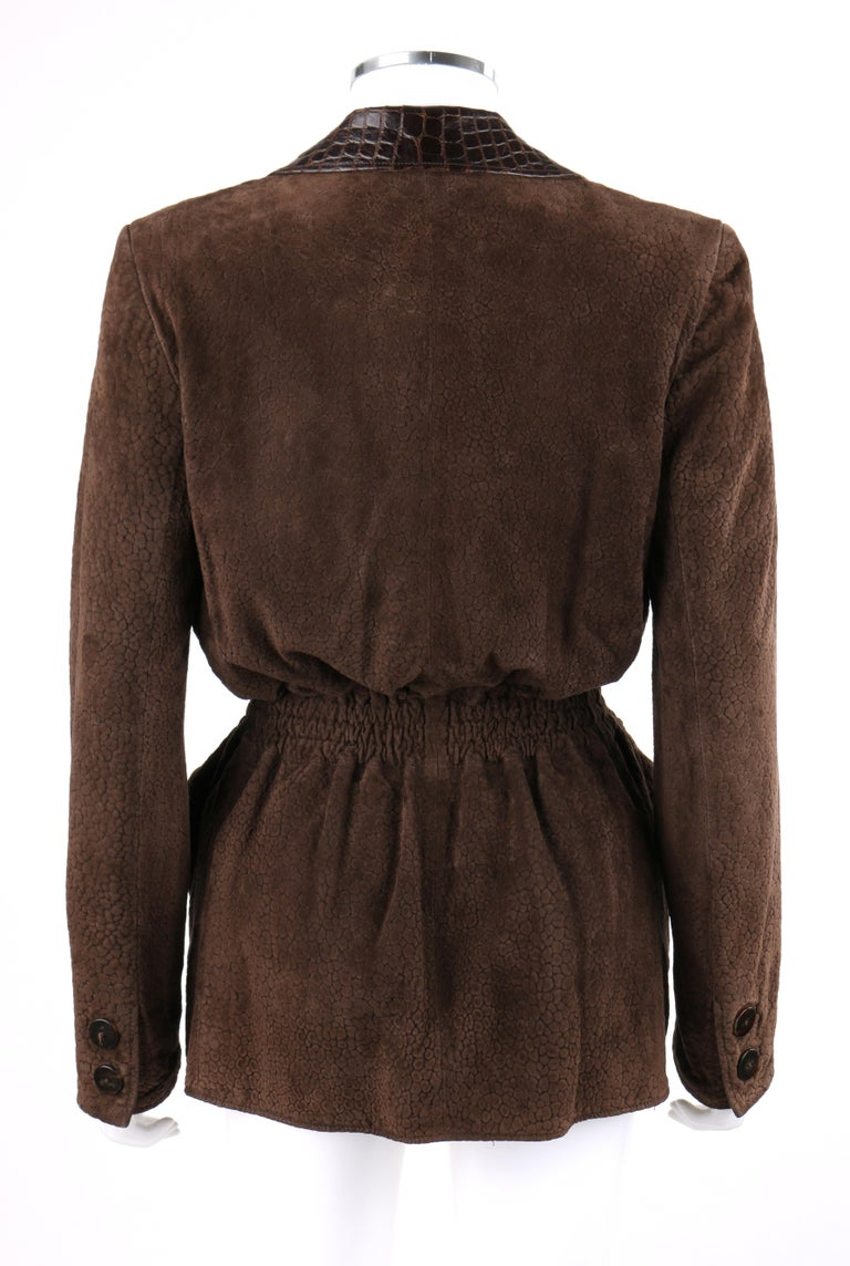 Women's VALENTINO Couture c.1980s Brown Crocodile Suede & Leather Cinched Waist Jacket For Sale