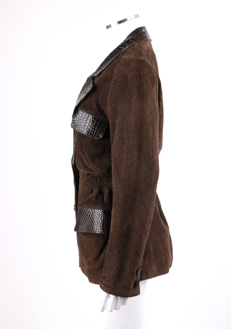 VALENTINO Couture c.1980s Brown Crocodile Suede & Leather Cinched Waist Jacket For Sale 1