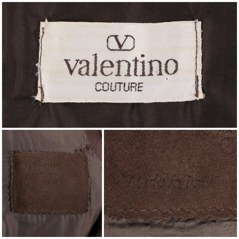 VALENTINO Couture c.1980s Brown Crocodile Suede & Leather Cinched Waist Jacket For Sale 2