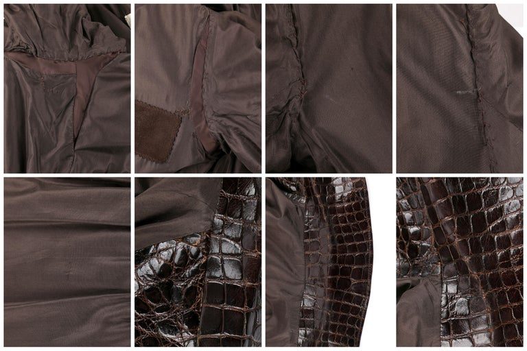 VALENTINO Couture c.1980s Brown Crocodile Suede & Leather Cinched Waist Jacket For Sale 3