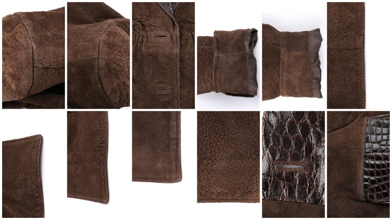 VALENTINO Couture c.1980s Brown Crocodile Suede & Leather Cinched Waist Jacket For Sale 4