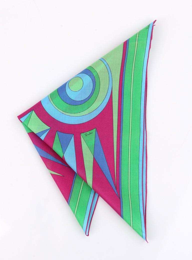 Blue EMILIO PUCCI c.1970's Sunburst Signature Print Square Scarf / Handkerchief NOS For Sale
