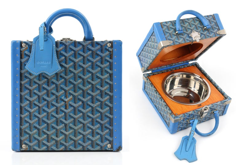 DESCRIPTION: GOYARD c.2002 Blue Goyardine Pet Bowl Carrier Travel Trunk Limited Edition No 17 - Dog / Cat   Estimated Retail: $6,000   Brand / Manufacturer: Goyard Collection:  Designer:  Manufacturer Style Name:  Style: Pet bowl trunk Color(s):