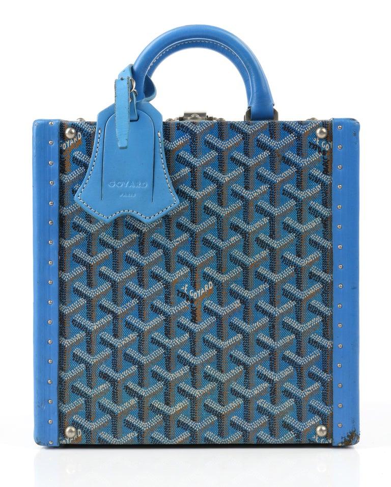 Gray GOYARD c.2002 Blue Goyardine Pet Bowl Carrier Travel Trunk Limited Edition No 17 For Sale