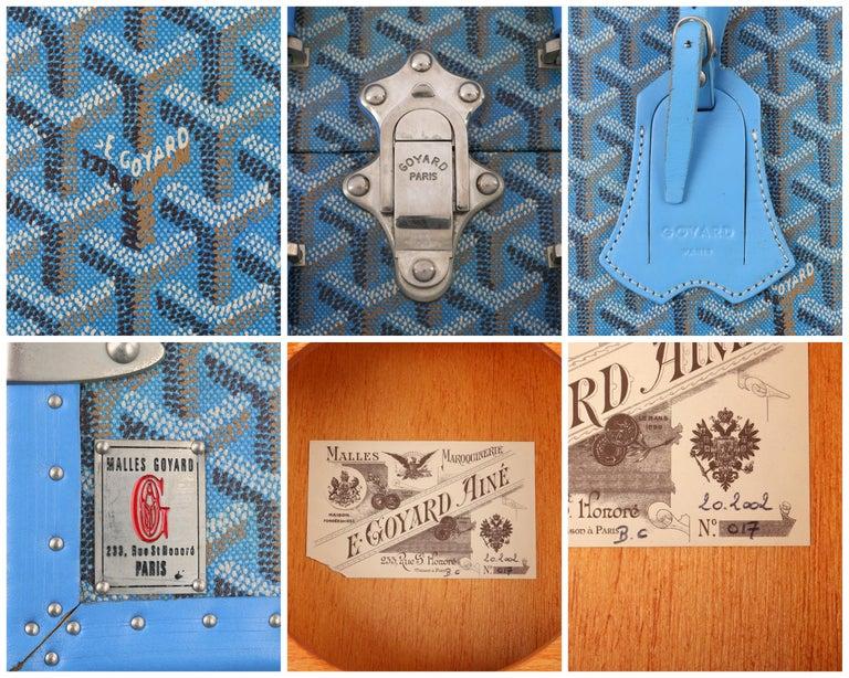 GOYARD c.2002 Blue Goyardine Pet Bowl Carrier Travel Trunk Limited Edition No 17 For Sale 4
