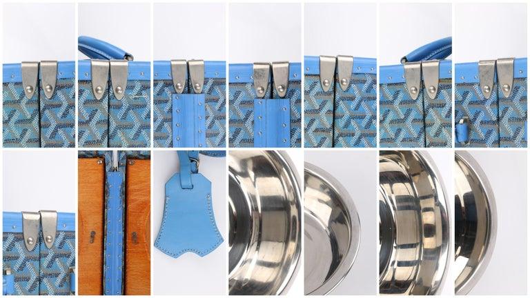 GOYARD c.2002 Blue Goyardine Pet Bowl Carrier Travel Trunk Limited Edition No 17 For Sale 5