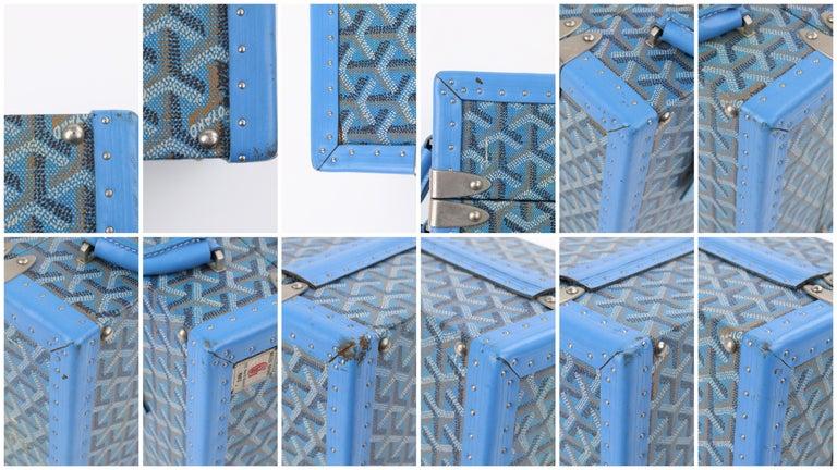 GOYARD c.2002 Blue Goyardine Pet Bowl Carrier Travel Trunk Limited Edition No 17 For Sale 7