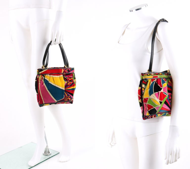 Brown EMILIO PUCCI By Jana c.1960's Stained Glass Signature Print Velvet Purse For Sale