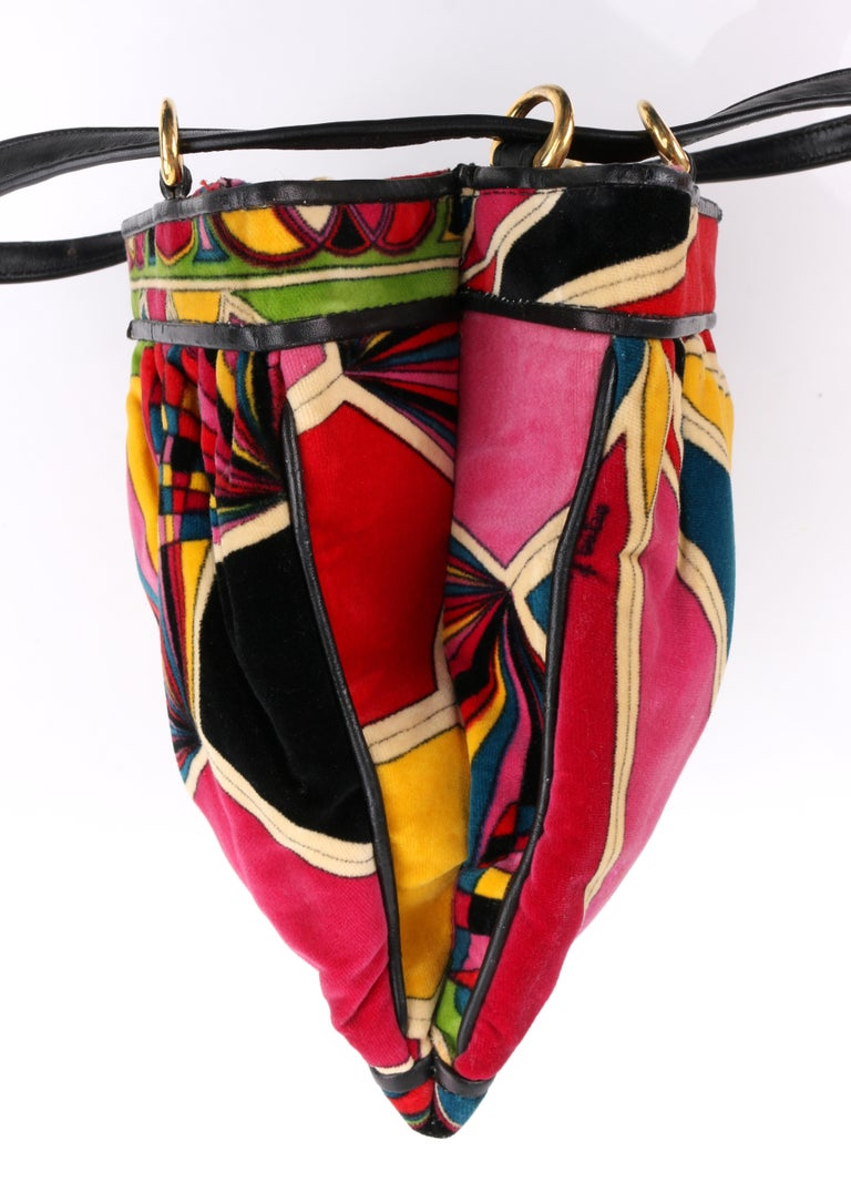 EMILIO PUCCI By Jana c.1960's Stained Glass Signature Print Velvet Purse For Sale 1