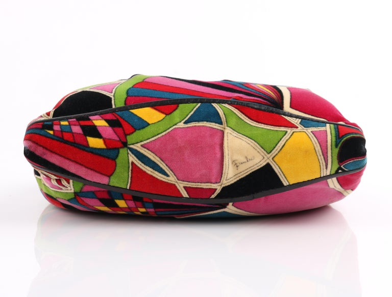 EMILIO PUCCI By Jana c.1960's Stained Glass Signature Print Velvet Purse For Sale 3