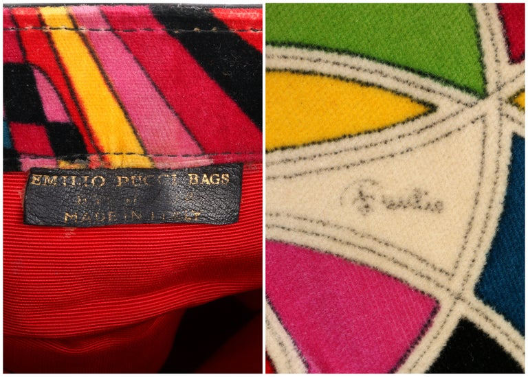 EMILIO PUCCI By Jana c.1960's Stained Glass Signature Print Velvet Purse For Sale 5
