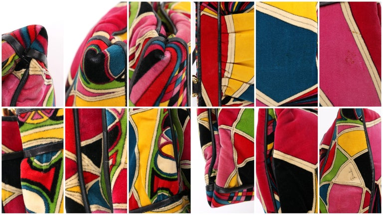 EMILIO PUCCI By Jana c.1960's Stained Glass Signature Print Velvet Purse For Sale 7