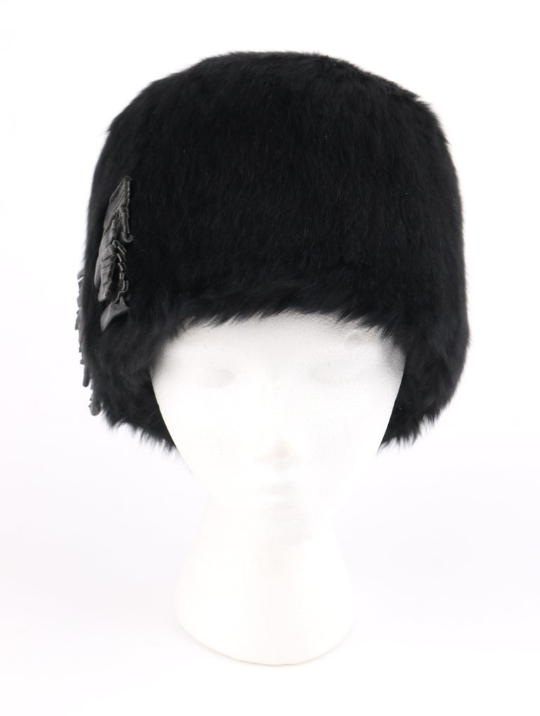 DESCRIPTION  YVES SAINT LAURENT c.1960 s YSL Black Angora Fur Leather Bow  Cossack Hat 88ef144000c2