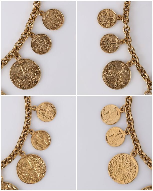 1970s CHANEL Gold Medallion Coat of Arms Crest Lion Necklace Earring Set 5