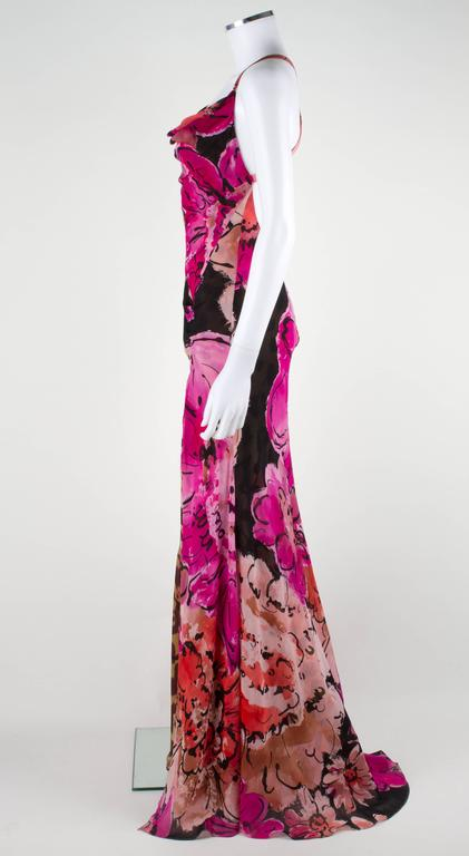 Gianni VERSACE Couture Floral Leopard Print Silk Evening Gown Dress ...