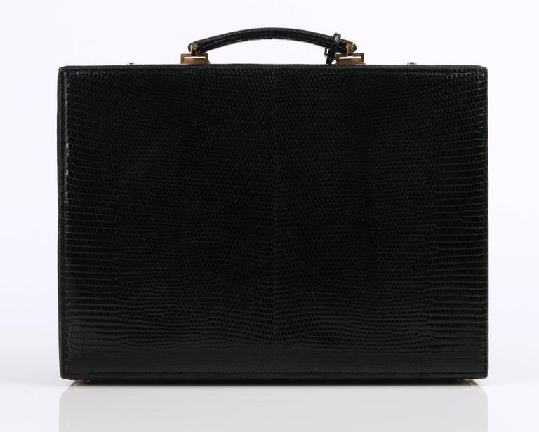 GUCCI Black Genuine Lizard Leather Jewelry Briefcase Travel Case Attache NOS 3