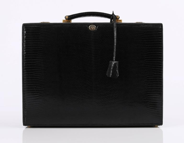 GUCCI Black Genuine Lizard Leather Jewelry Briefcase Travel Case Attache NOS 2