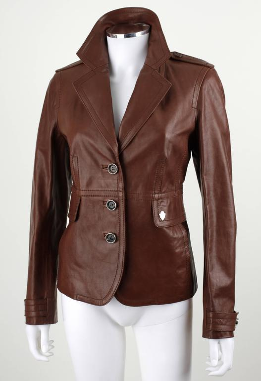Gucci Classic Brown Leather Button Front Slim Line Jacket