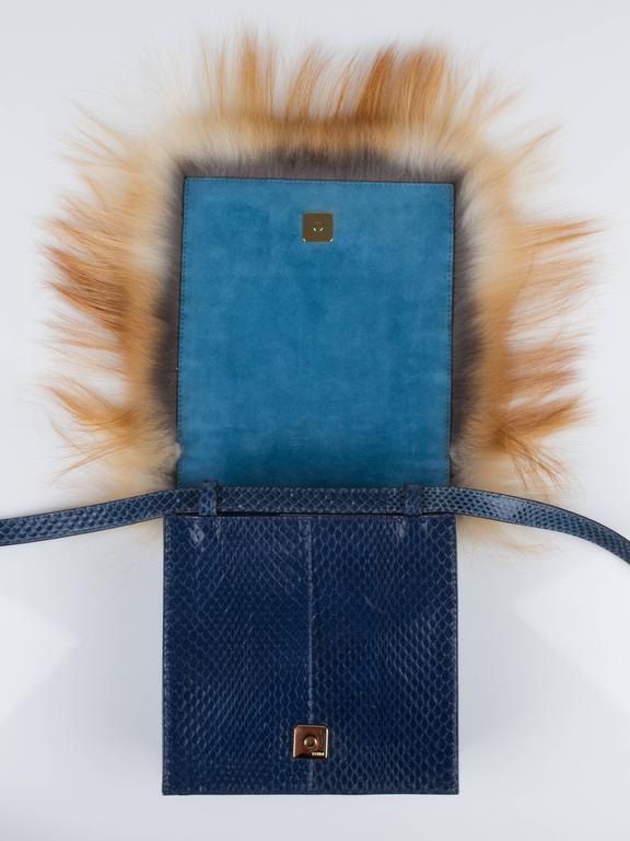 1stdibs 2012 Fendi daisy Beaded Genuine Snakeskin Fox Fur Trim Crossbody Clutch Bag 1OoSp6W469