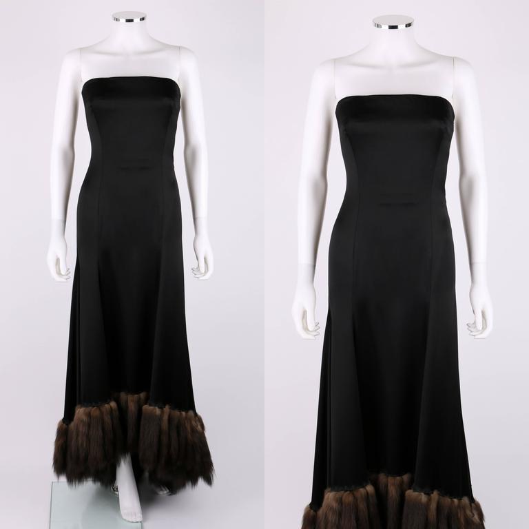 J Mendel Paris Black Satin Ball Gown Sable Fur Tail Trim
