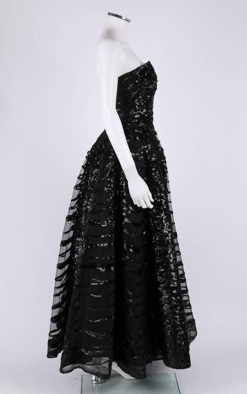 Women's HAUTE COUTURE 1950s Black Sequin Ball Gown Evening Theater Opera Party Dress For Sale
