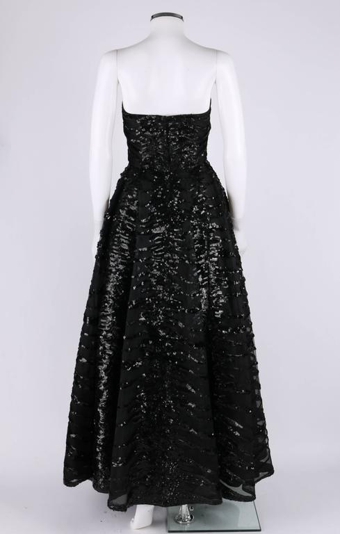 HAUTE COUTURE 1950s Black Sequin Ball Gown Evening Theater Opera Party Dress For Sale 1