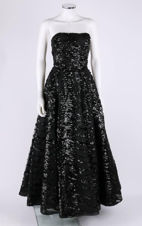 HAUTE COUTURE 1950s Black Sequin Ball Gown Evening Theater Opera Party Dress 3