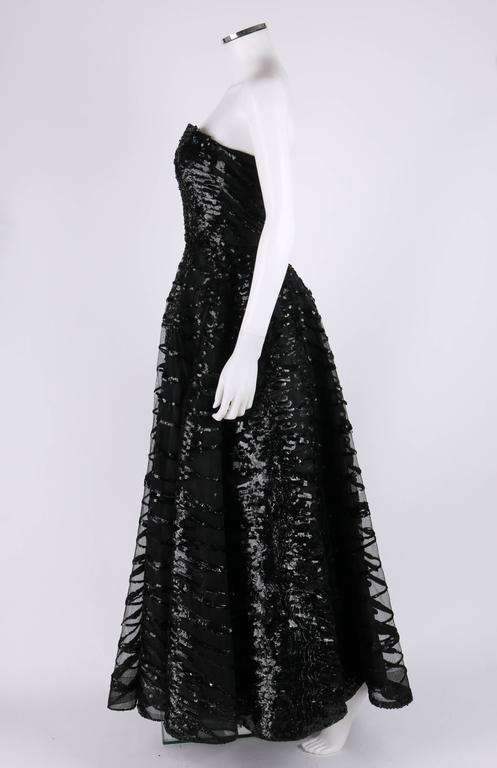 HAUTE COUTURE 1950s Black Sequin Ball Gown Evening Theater Opera Party Dress For Sale 2