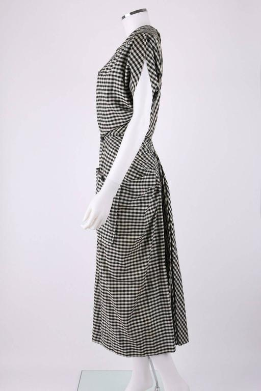 1949 S/S JACQUES FATH Black & White Gingham Fan Back Peplum Afternoon Dress 5