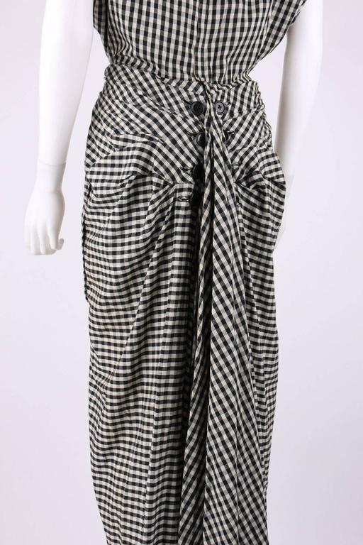 1949 S/S JACQUES FATH Black & White Gingham Fan Back Peplum Afternoon Dress 6