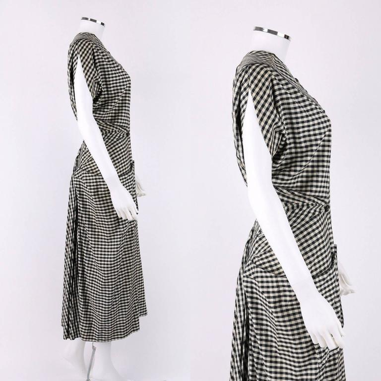 1949 S/S JACQUES FATH Black & White Gingham Fan Back Peplum Afternoon Dress 3