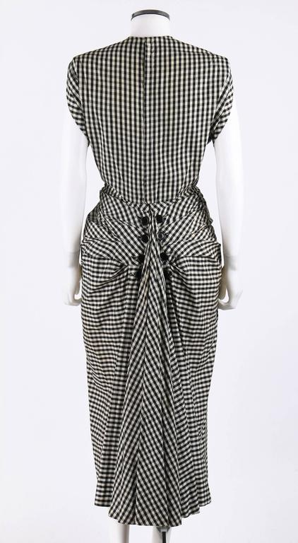 1949 S/S JACQUES FATH Black & White Gingham Fan Back Peplum Afternoon Dress 4
