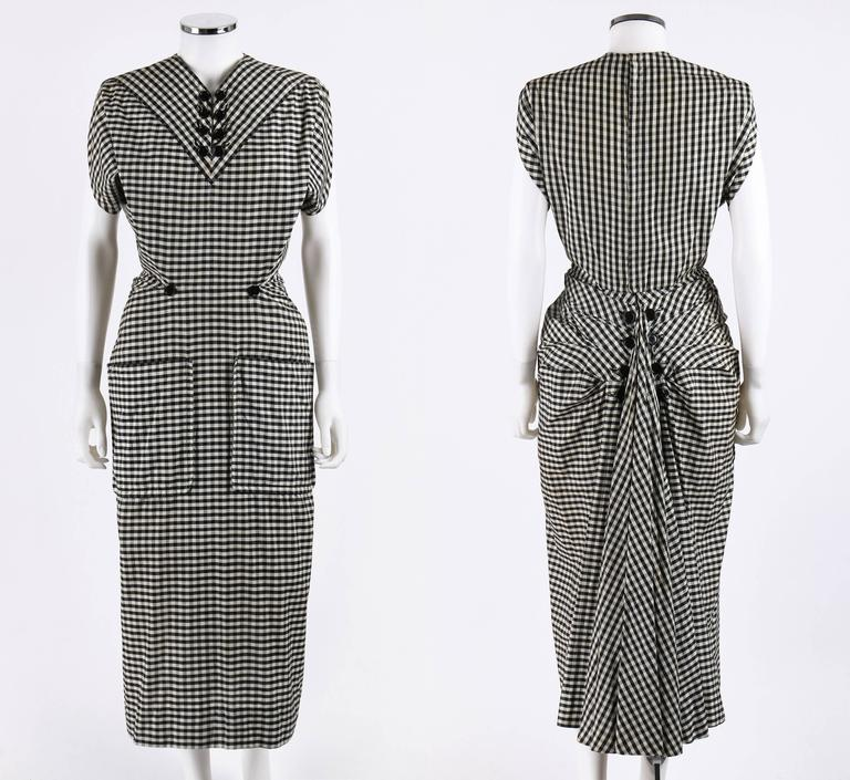 1949 S/S JACQUES FATH Black & White Gingham Fan Back Peplum Afternoon Dress 2