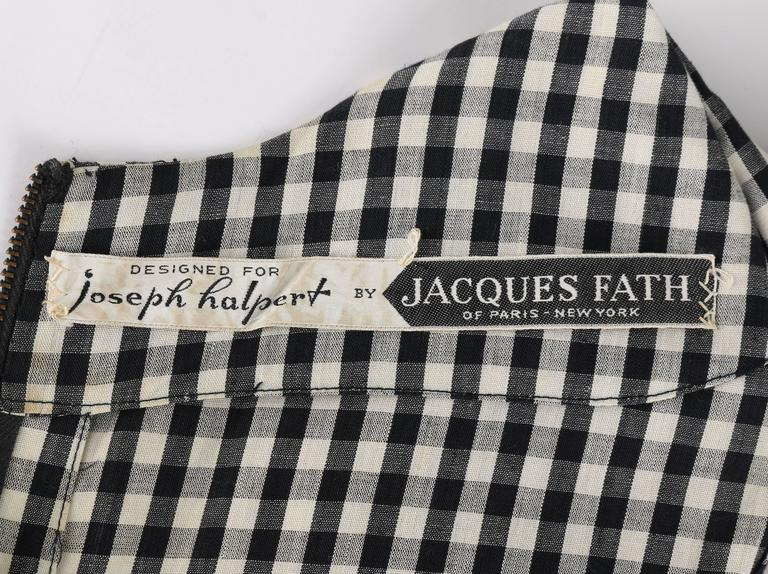 1949 S/S JACQUES FATH Black & White Gingham Fan Back Peplum Afternoon Dress 9