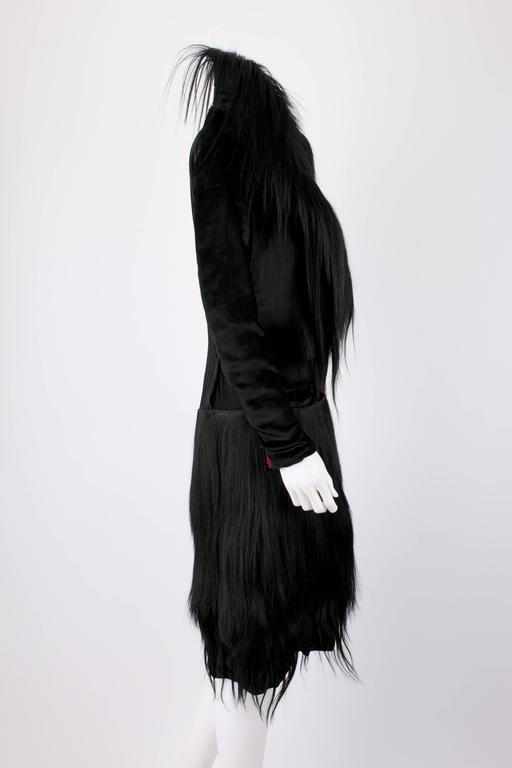 Black Monkey Fur Silk Velvet Avant Garde Art Deco Flapper Coat Circa 1920's OOAK 3