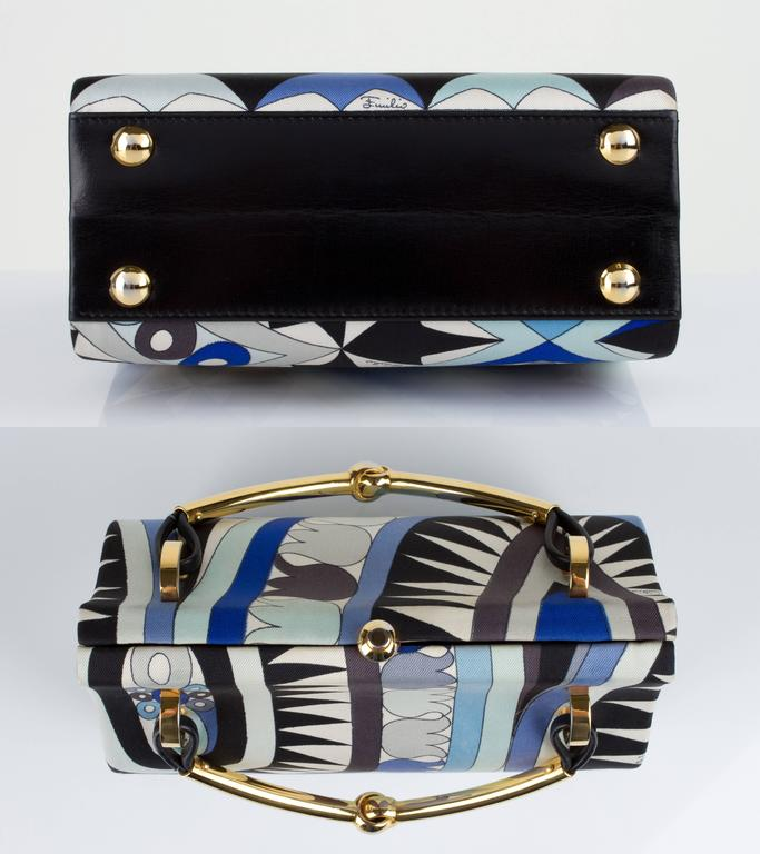 Women's 1960s EMILIO PUCCI Blue Signature Print Silk Structured Box Purse Handbag  For Sale