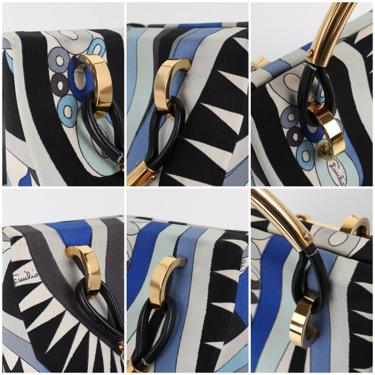 1960s EMILIO PUCCI Blue Signature Print Silk Structured Box Purse Handbag  For Sale 5
