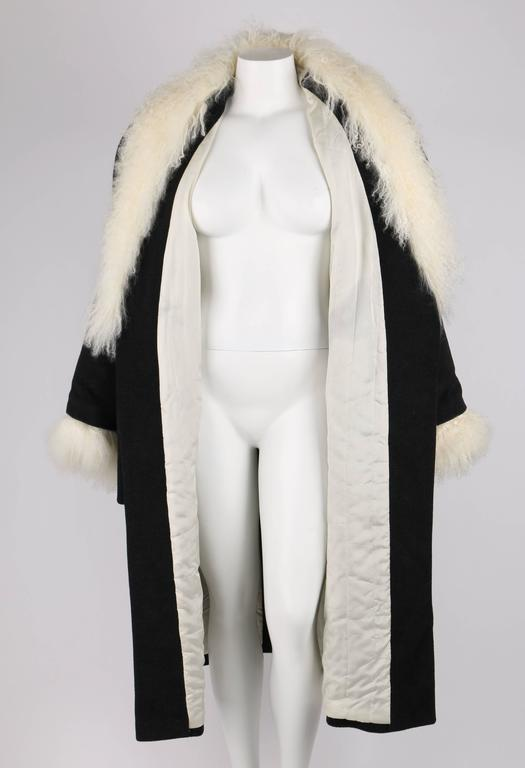 ALEXANDER McQUEEN c.2000 Shawl Collar Gray Wool Mongolian Lamb Fur Coat 44 / XL 6
